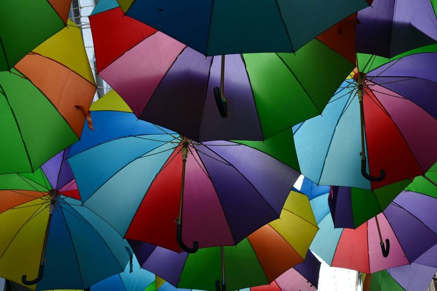 Nikon D5200 Streetphotography Rainbow Umbrellas Colors