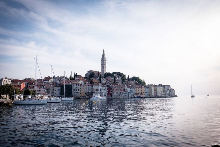 Rovinj Croatia Rovinj Harbor Ship Water Sky Architecture Building Exterior Built Structure Building City Waterfront Nature Nautical Vessel Travel Destinations Outdoors