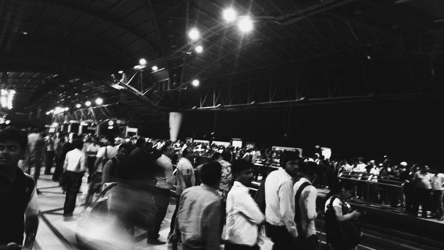 Crowd at illuminated nightclub