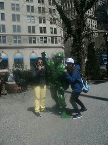 Collected Community New York City, Summer Vacation live Green Soldier Street Performer & Tourist Girls
