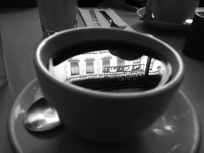 Coffee And Sweets Coffee Reflection Breakfast New York City Black And White Good Morning City Life Photography