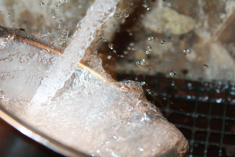 Close-up of ice cubes in water