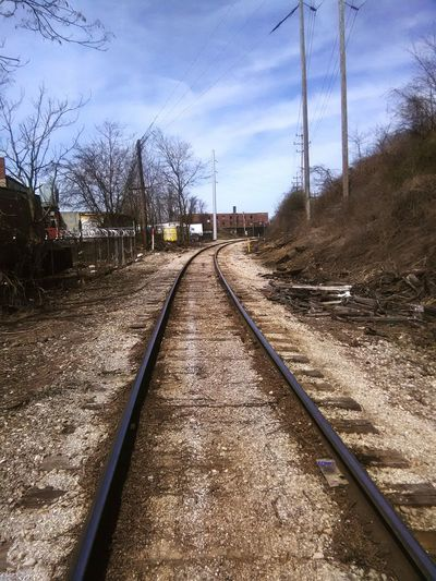 train tracks Industrial Landscapes 1 Point Perspective Parallel Railroad Track Sky Cloud - Sky Railroad Tie vanishing point Diminishing Perspective Gravel Treelined