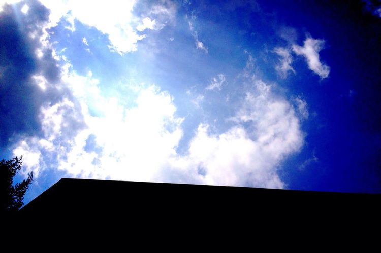 Blue Blue Sky And Clouds Before Typhoon Windy Day Blue I took the photo of the gorgeous blue sky when i finished the club activity :) Today's so hot and windy day!!! Cuz the typhoon will come here. I'm waiting for good day on summer