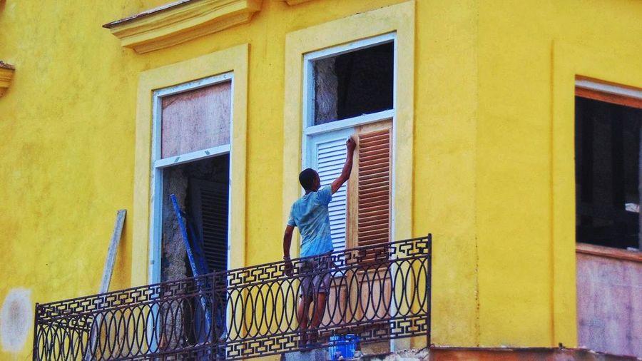 Amarillo cubano #cuba City Yellow Window Door Architecture Building Exterior Built Structure