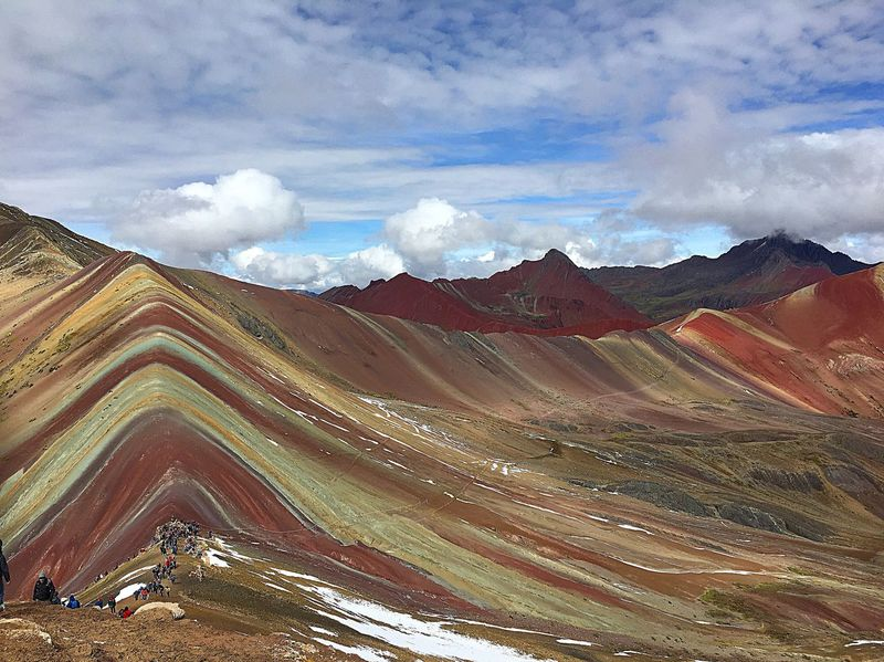 Cloud - Sky Landscape Nature Sky Geology Mountain Physical Geography Scenics Mountain Range Day Beauty In Nature Outdoors Tranquil Scene Tranquility No People Travel Destinations Rainbow Rainbow Colors Rainbowmountains Peru Hiking Hikingadventures Gadventures Altitude