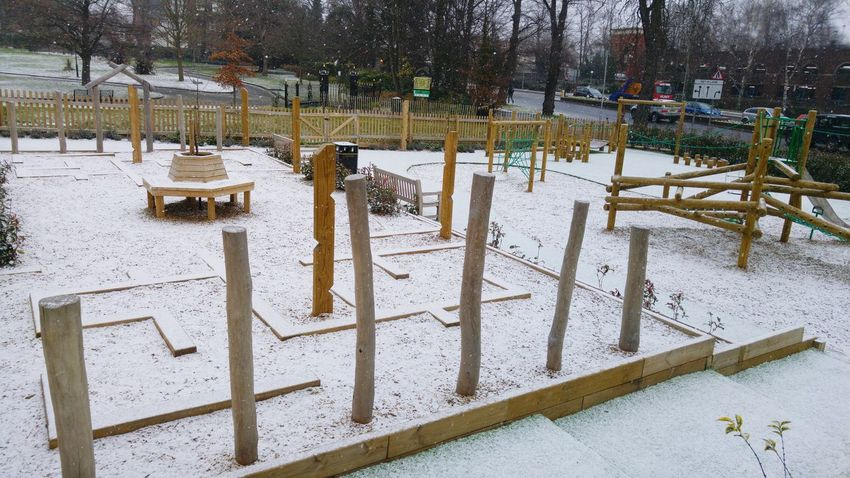 snowy play area Wintertime Winter Wonderland Children Playground EyeEm Selects Day Outdoors Snow No People Cold Temperature Winter Nature