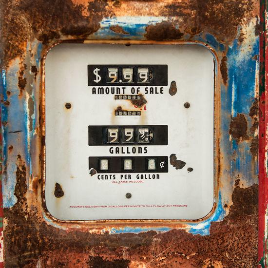 Close-up of rusty metallic fuel pump