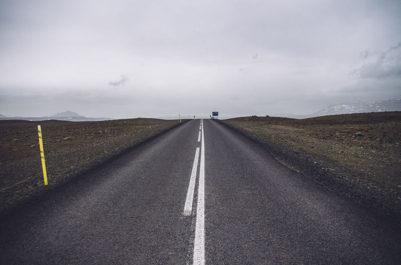 Empty Road Amidst Field