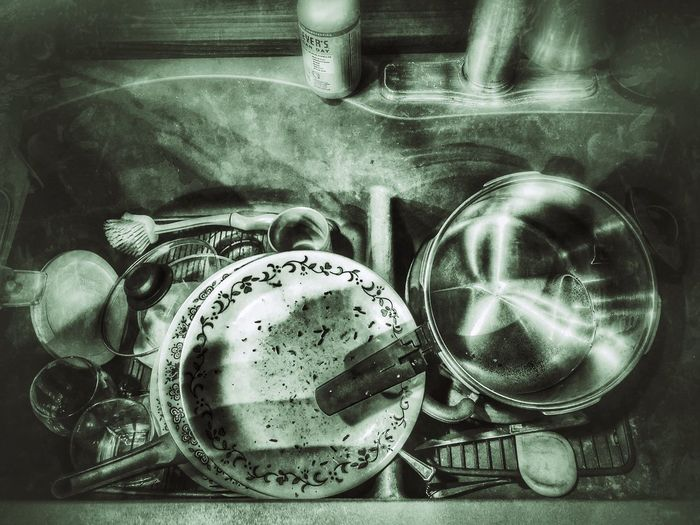 When I was a Bachelor Blackandwhite Bachelor Dirty Dishes Dirtydishes Kitchen Sink Still Life Close-up No People Indoors  High Angle View Metal Large Group Of Objects