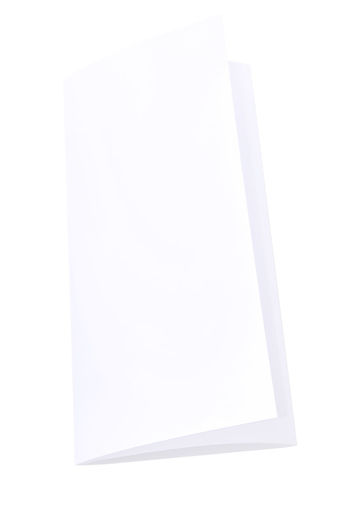 Blank Trifold Paper Brochure On White Background With Soft Shadows. Z-Folded Advertising Banner Blank Business Card Empty Envelope Flyers Fold Label Leaflet Marketing Menu Mock Pamplet Paper Papers Presentation Publication Trifold Triple White Background