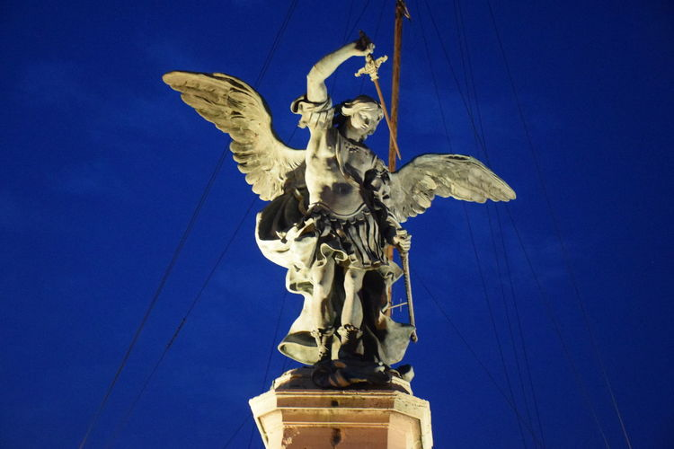 Night Lights Rome Italy🇮🇹 Rome City View Saint Angel Castle Tevere River Angel Statue No People