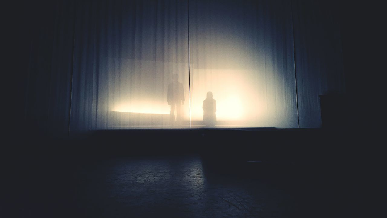 curtain, silhouette, indoors, drapes, one person, day, people