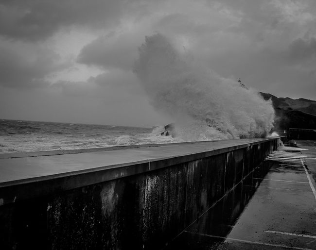 Winter Storms at Cheyne Beach, Ilfracombe Devon Beach Beauty In Nature Blackandwhite Day Horizon Over Water Nature No People Outdoors Power In Nature Sand Scenics Sea Sky Storm Storm Surge Surf Tranquil Scene Tranquility Water Wave Wave