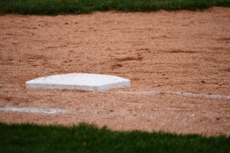 Close up of baseball infield