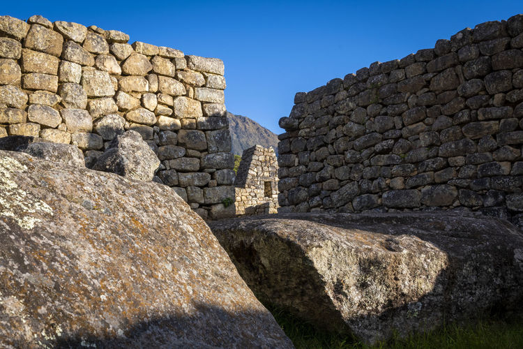 View of stone wall against sky