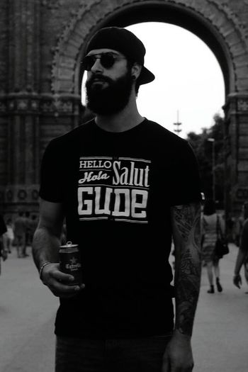 Barcelona Beard Blackandwhite Sunglasses Beer Snakebites Triumph Tattoo Gude