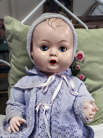 Vintage Doll. Doll Baby Babyhood Child Childhood Close-up Clothing Cute Focus On Foreground Front View Human Representation Indoors  Innocence One Person Portrait Real People Representation Toddler  Vintage Warm Clothing Young