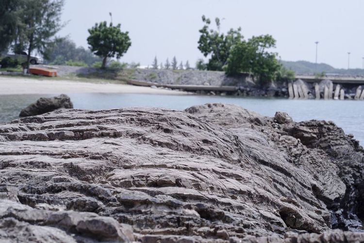 Close-up of rocks by sea against sky