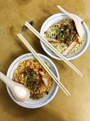 Bowl Food And Drink High Angle View Noodles Food Ready-to-eat Freshness Indoors  Chopsticks Serving Size Table No People Healthy Eating Soup Close-up Plate Meal Meat Day Kolo Mee Sarawak Borneo
