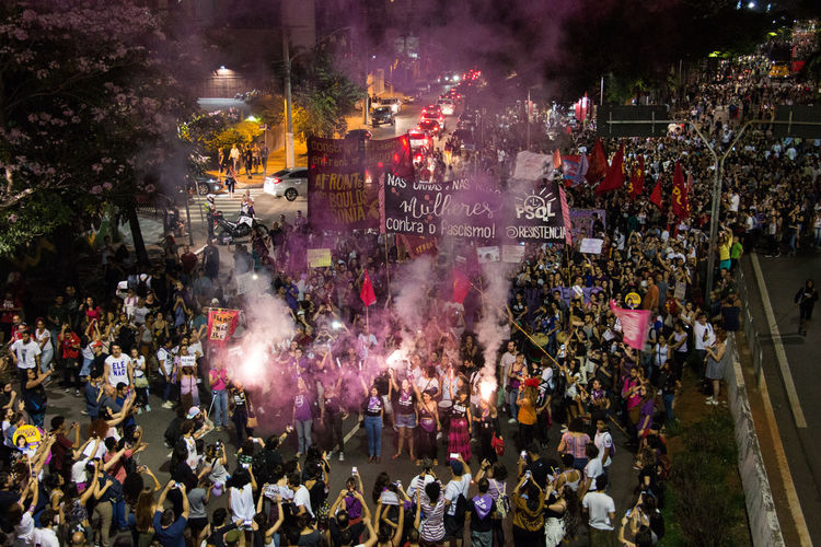 Brazilian Women Against Bolsonaro #elenao Protest Signs Crowd Demonstration Feminism Freedom Of Speech Group Of People Protesters