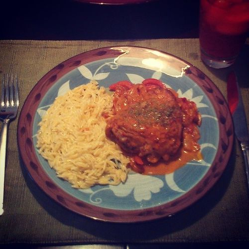 easy French food at home Laura Calder Poulet au paprika and buttery Orzo (onion, bell pepper, fennel, white wine, cream, paprika)