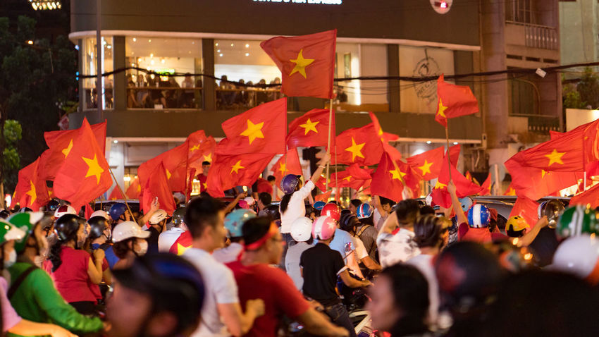 Vietnam storms to U23 Asian Cup final after beating Qatar on penalties AFC U23 Championship ASIA Foodball Ho Chi Minh City Adult Architecture City Crowd Day Flag Large Group Of People Many Red Flags Men Outdoors Patriotism People Protestor Real People Red Flags Soccer Togetherness Women