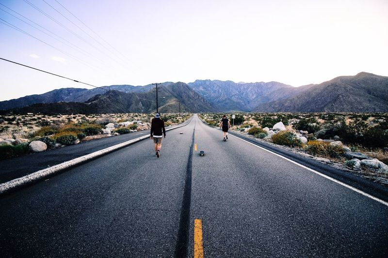 Been There. Road The Way Forward Mountain Colorado Rear View Mountain Range Scenics Landscape Real People Adventure Beauty In Nature Two People Skate Skateboarding Friends Friendship Longboard Longboarding Explore Full Length Lifestyle Outdoors Lost In The Landscape Done That. EyeEmNewHere Connected By Travel An Eye For Travel California Dreamin Go Higher