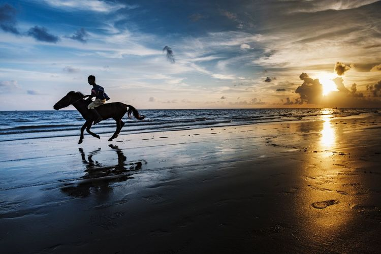 Silhouette man riding horse on beach against sunset sky