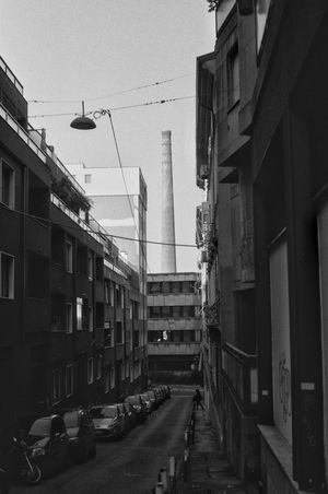 Trieste Architecture Built Structure Building Exterior Transportation City Outdoors Street Mode Of Transport Day No People Sky Pentax K1000 Ilford FP4 Plus Blackandwhite Film Photography Cityscape City Photography Architecture Film