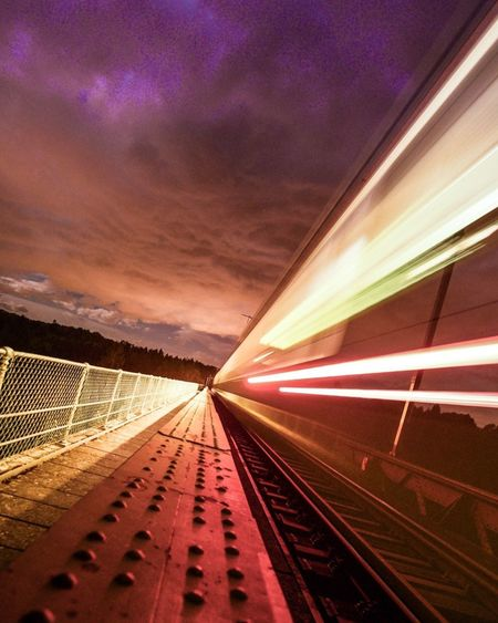 The Way Forward Mode Of Transportation Direction Sky Illuminated Motion Architecture Long Exposure Nature Diminishing Perspective Speed Built Structure Rail Transportation Travel No People