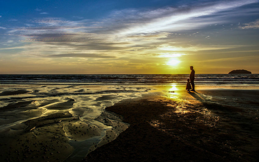 Beach Family Landscape Moments Outdoors Scenics Silhouette Sunset