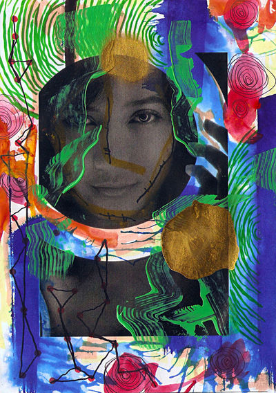 Portrait of woman with multi colored graffiti on wall