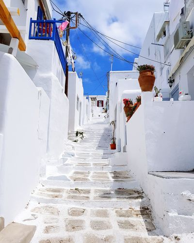 Cyclades Islands Cyclades Greek Islands Greek Sunny Blue Sky Sun Building And Sky Buildings & Sky Greece Mykonos Island Mykonos Mykonostown Sky Street White White Buildings Architecture No People Mykonos Town Incline Steep Road Steep Incline Stairs Steep Street