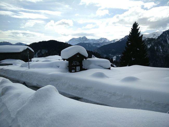 Entrance to mountain village. Little Village Sauris