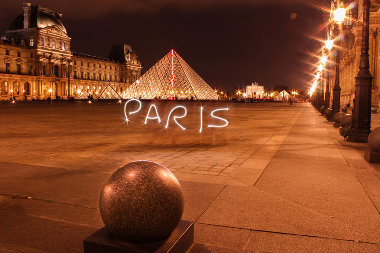 Architecture Building Exterior Built Structure City Cityscape Illuminated Lightpainting Louvre Louvremuseum Night Nightphotography No People Outdoors Paris Sky Traveling Home For The Holidays EyeEmNewHere
