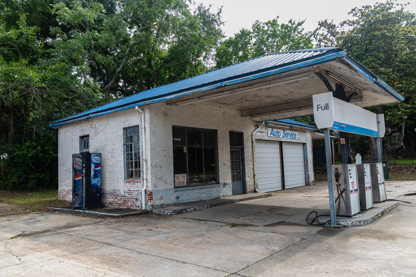 Old Gas Station Architecture Building Building Exterior Built Structure Day Door Entrance Footpath Growth House Land Nature No People Old Outdoors Plant Roof Sky Tree Window