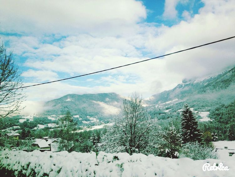 Hello World Enjoying Life Snow Landscape Clouds And Sky Blue White Hautesavoie Mountains Green Nature Trees Beautiful