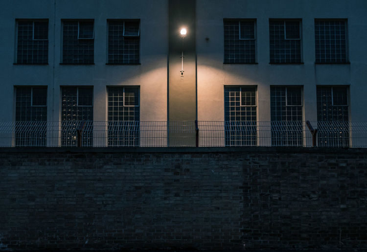 Illuminated Lighting Equipment Mounted On Prison Building