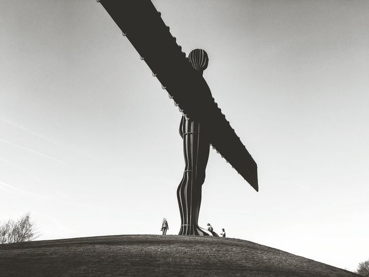 Angel Of The North Low Angle View Grass Clear Sky Day Outdoors Growth Sky at Gateshead North East United Kingdom
