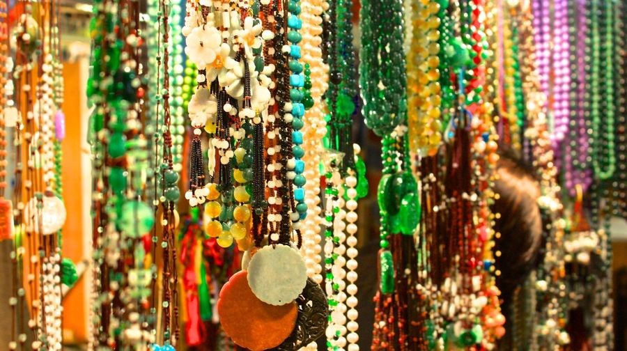 Close-up of jewelry for sale at market stall