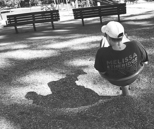 Me And My Shadow Black And White Park Scene Playfulness Back Turned Capture The Moment Bnw_friday_eyeemchallenge Picturing Individuality Uniqueness Shades Of Winter Love Yourself