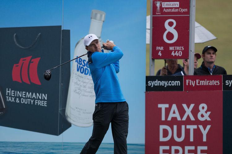 Jordan Spieth of the Unites States play his tee shot on 8th hole during the pro-am ahead of the 2017 Australian Golf Open at Australian Golf club Sydney on Nov 22, 2017. #Jordanspeith #golf #proam