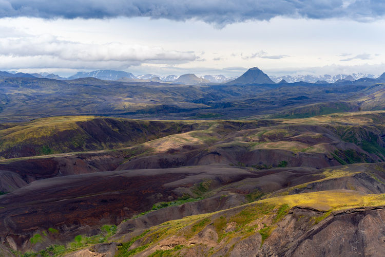 Dramatic clouds coming to the valley of thorsmork, southern iceland.
