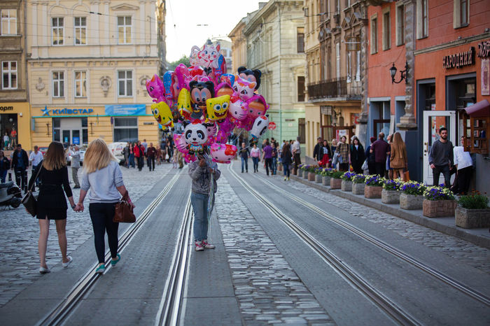 Baloons Lviv, Ukraine Adult Adults Only Architecture Building Exterior Built Structure Celebration City Day Full Length Group Of People Large Group Of People Leisure Activity Lifestyles Men Outdoors People Real People Transportation Women