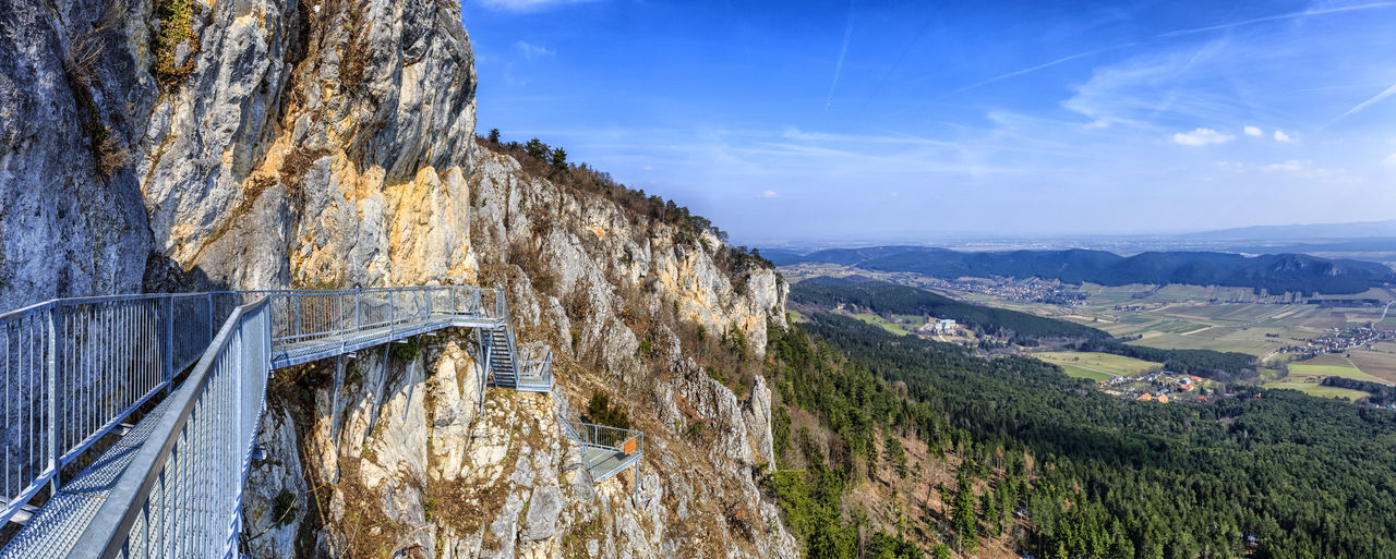 Felsenpfad Panorama Architecture Beauty In Nature Built Structure Cloud - Sky Day Environment Formation Hohe Wand Landscape Mountain Mountain Range Nature No People Non-urban Scene Outdoors Panoramic Photography Plant Scenics - Nature Sky Tranquil Scene Tranquility Transportation Tree