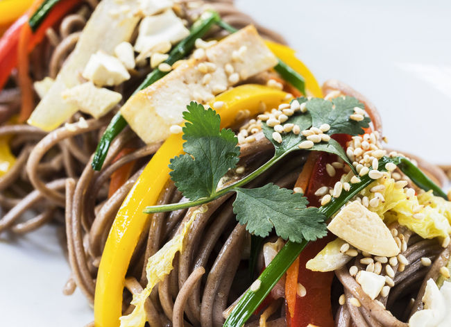 "Buckwheat noodles ""Soba"" with vegetables Bell Buckwheat Chinese Food Close-up Dinner Food Food And Drink Freshness Green Healthy Eating Meal Meat No People Noodles Parsley Pepper Ready-to-eat Soba Vegan Vegetable Vegetables Vegetarian"