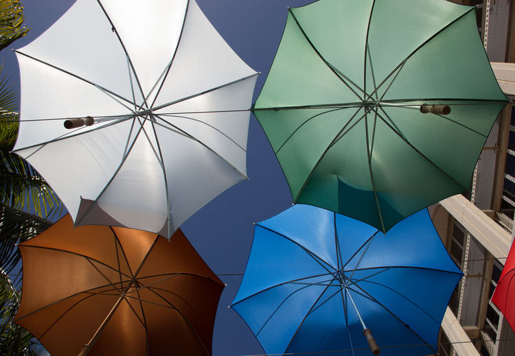 Blue Close-up Colorful Colors Green Mauritius Multi Colored No People Orange Outdoors Port Luis Umbrella White