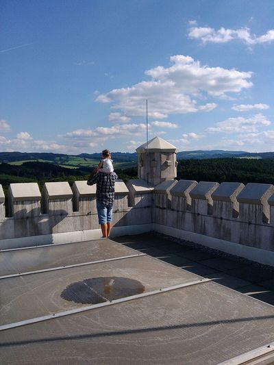 Castle Tower Babygirl Father Father And Daughter Family People And Places Watching The View Panorama View Panoramic View Watching The Sky On The Roof On The Top Rooftop Daddy's Girl Castle Tower Castle View  Bastion Burg Chataux Historical Building Building Roof Moravian Castle Moravia Defence Tower