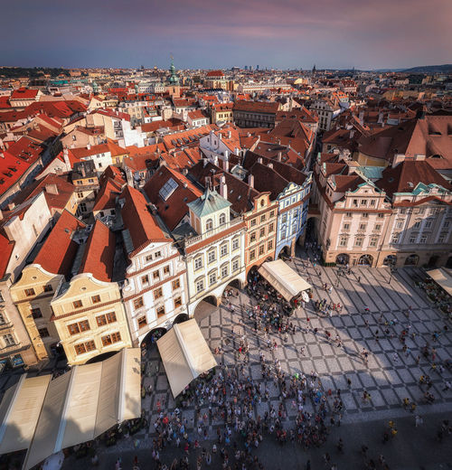 High angle view of the prague oldtown
